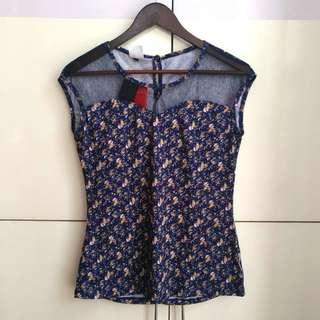 Blue Floral Blouse with Lace [XL]