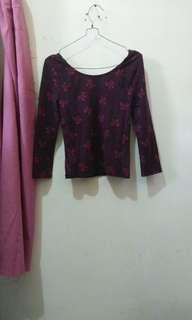 H&m hnm ribbon crop shirt