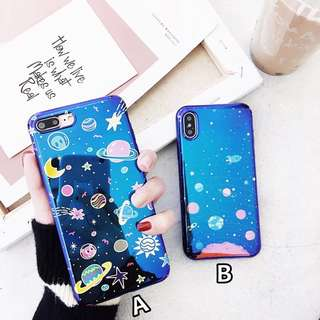 Casing Space Hologram Light Blue iPhone/Oppo/Xiaomi