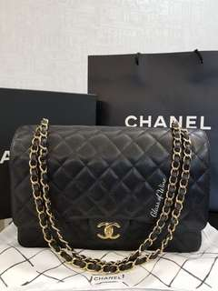 💖 **SGD4,xxx Chanel Maxi Double Flap in Black Caviar Leather with GHW