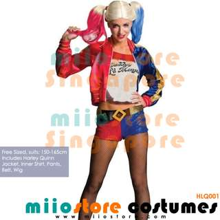 RENT/BUY HARLEY QUINN COSTUMES HARLY QUEEN Shorts Top Jacket Blazer DC Wig Head