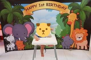 Rental for Birthday banner animal safari zoo theme