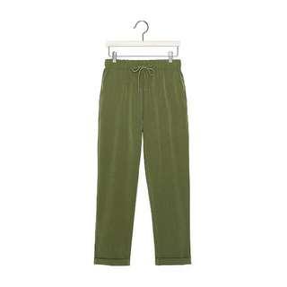 CACO 墨綠 率性簡約老爺長褲