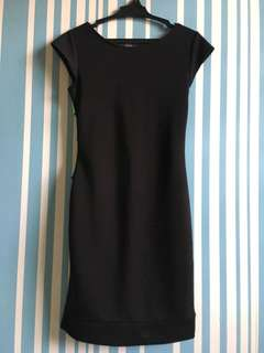 Black dress ( backless with colourful design at the back)
