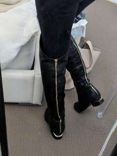 Tony bianco over the knee REAL leather boots with gold zipper detail