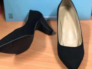 Suede Black High Heels