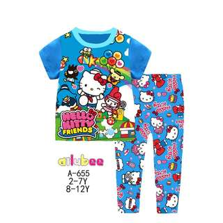 Blue Hello Kitty Short Sleeves Pyjamas