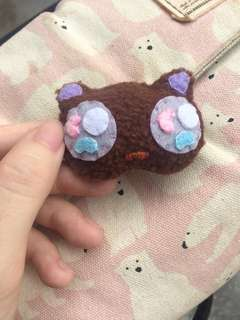 Cute Brown Kitty Felt Fleece Brooch Bag Pin Handmade Handsewn