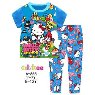 Blue Hello Kitty Short Sleeves Pyjamas (Big Size)
