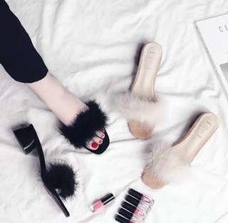 Fluffy Slip On Heels