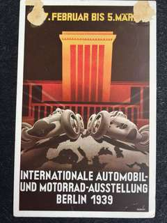 Germany Third Reich Hitler 1939 Int'l Automobile n Motorcycle Show in Berlin Postcard Used