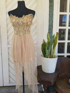 Nude Beige Fairy-like High-Low Dress