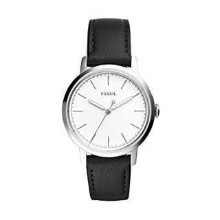 (Sale) Fossil Women's Neely White Dial Black Leather Strap Watch ES4186