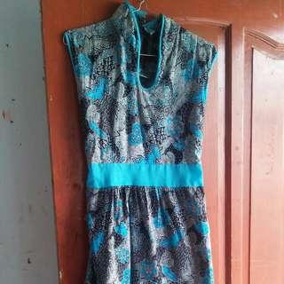 Dress batik shanghai biru
