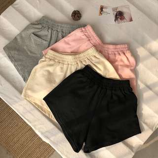 basic high waist runner shorts w elastic band