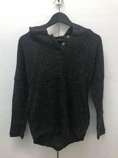 Grey wool top with waterproof hoodie