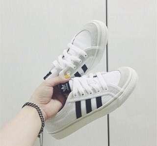 正品 Adidas Nizza Lo 白黑 低筒鹿皮帆布鞋