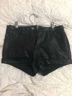 Bardot Black faux leather shorts