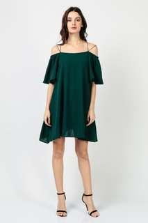 Double Strapped Drop Sleeve Dress (Dark Green)