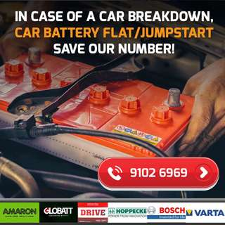 Car Battery Replacement / Car Jump-Start Service (24-Hours)