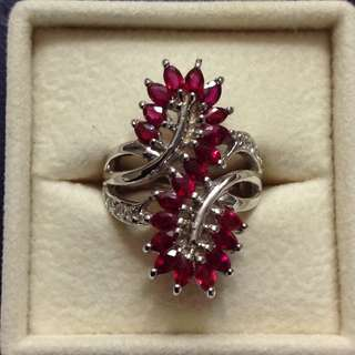 Ruby Sterling Silver Ring - 3.6 carats