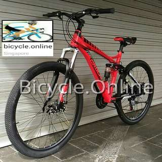 Free Delivery! Full Suspension Mountain Bike / CROLAN MTB ☆ Shimano 21 Speeds, Disc brakes ☆ brand new bicycle