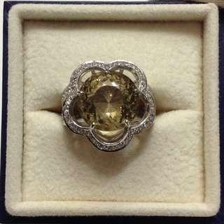 Yellow Beryl Sterling Ring (6 carat)