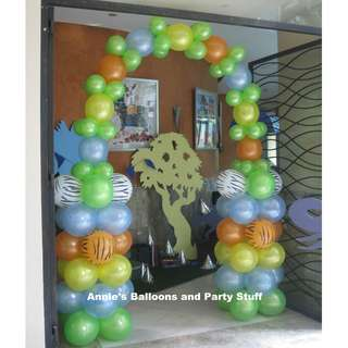 Jungle Safari Theme Balloon Entrance Arch for Kiddie Birthday Party
