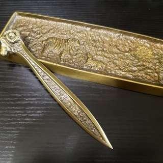 Vintage brass letter opener set