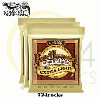 Ernie Ball 2006 Earthwood Extra Light 80/20 Bronze Acoustic Guitar Strings (10-50) 3 pack