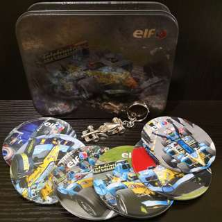Vintage Elf coasters with f1 keychain collection