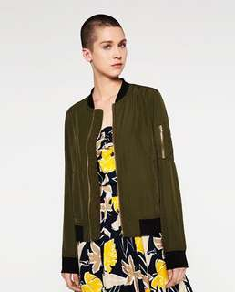 Zara Army Green Bomber Jacket XS