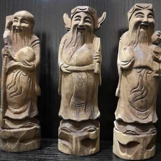 Wooden fu lu shou figurine