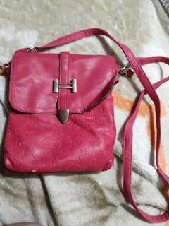 Pink leather body bag