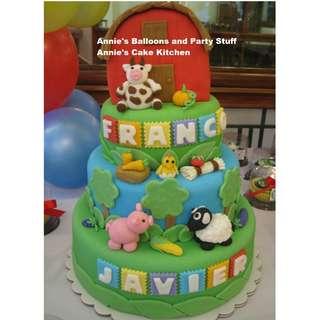 Four-Layer All-Edible Animal Farm Theme Fondant Cake for Kiddie Birthday Party