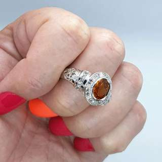 Citrine & White Sapphire Ring, Size 9 US, Sterling Silver, NEW