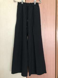 Editor's market- Navy blue Striped wide-leg pants