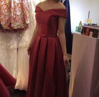 Dark Red Off Shoulder Prom Dress