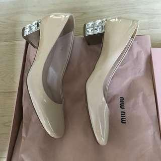 保證正品Miu Miu 閃石漆皮高踭鞋