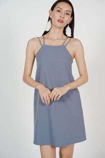 Strappy Crossback Dress In Ash Blue