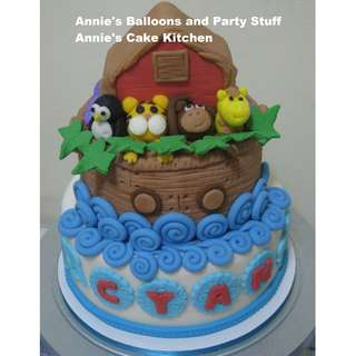 Three-Layer Noah's Ark Theme All-Edible Fondant Cake for Kiddie Birthday Party