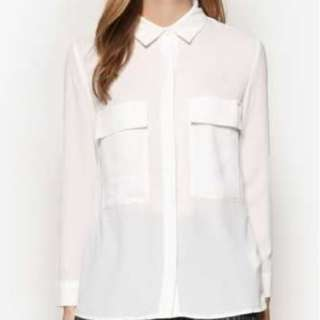 [ZALORA] COLLECTION OVERSIZED POCKETS BLOUSE