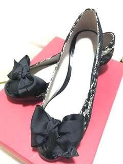全新 NORIKAZU SHIODA 黑色蕾絲女裝鞋