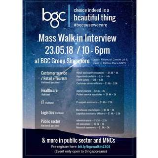 23/05 Mass Walk-in Interview for Singaporeans at BGC Group