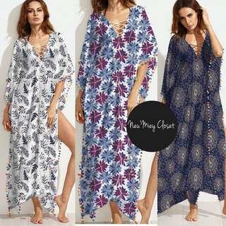 Boho Floral Tassel Long Slit Maxi Long Dress