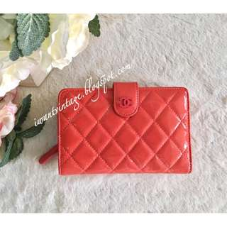 Chanel Quilted Patent Leather Compact Zip Wallet-Coral
