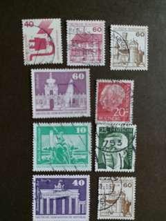 德國郵票 已銷郵票 9 枚 A001
