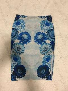 Blue Floral Midi Skirt - Size 10