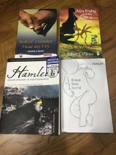 Books (Hamlet, Roll of thunder hear my cry, Mrs Frisby and the Rats of NIMH, Brave New World)