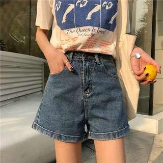 👖韓版百搭牛仔短褲 多色多尺寸 高腰 寬松顯瘦 肉肉女也能穿 闊腿褲 女裝 夏季必買 涼爽